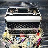 Чемодан для косметики, маникюра, визажистов (черный (крупный ромб))
