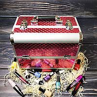 Кейс для косметики, бьюти кейс, кейс для маникюра (нежно-розовый (ромб))
