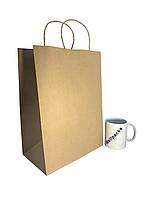 Бумажный крафт пакет 260*150*350-100шт. с ручкой бурый ЭКО для доставки