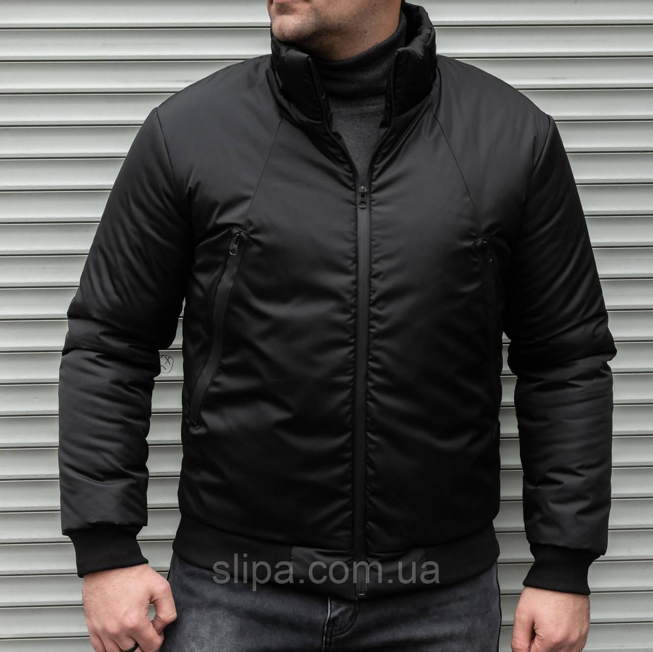 Мужская утепленная куртка бомбер чёрная