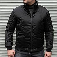 Мужская утепленная куртка бомбер чёрная, фото 1