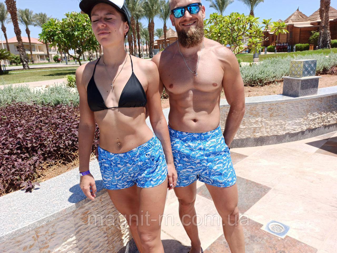 """Шорти літні пляжні ПАРНІ. """"Хвилі"""". Супер якість."""
