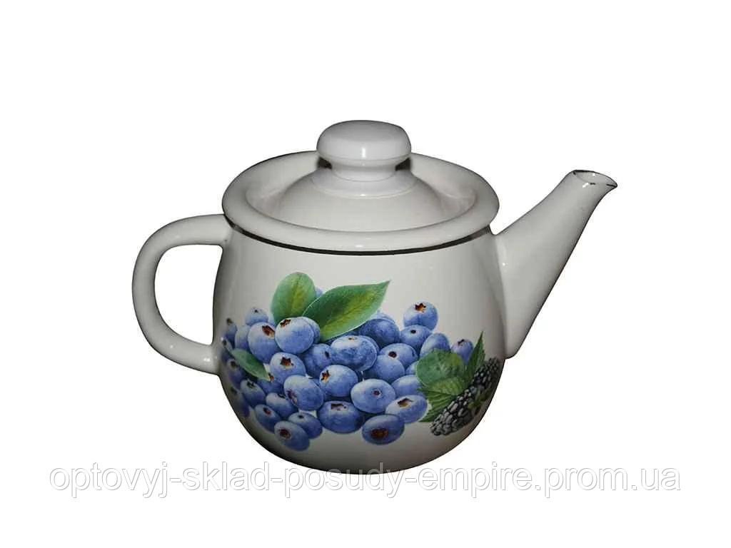 "Чайник эмалированный 1 литр Голубика (молочная) (І2707/2) ""IDILIA"""