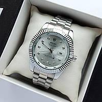 Мужские наручные часы Rolex datejust (ролекс) серебристые, камни на метках, отображение даты - код 1882
