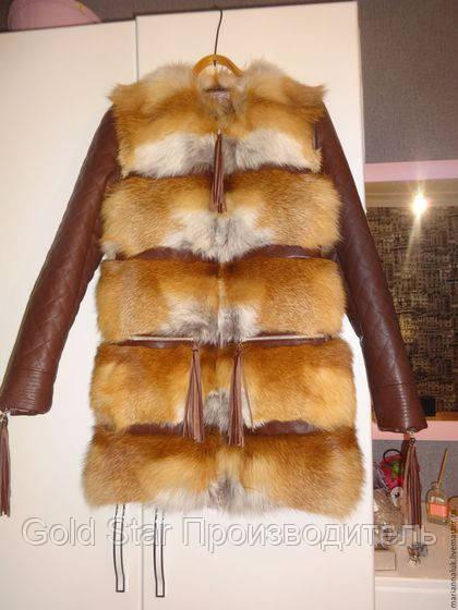 Шуба трансформер из лисы с кожаными отстегивающимися рукавами, фото 1