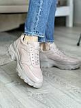 Женские кроссовки кожаные весна/осень бежевые, фото 2