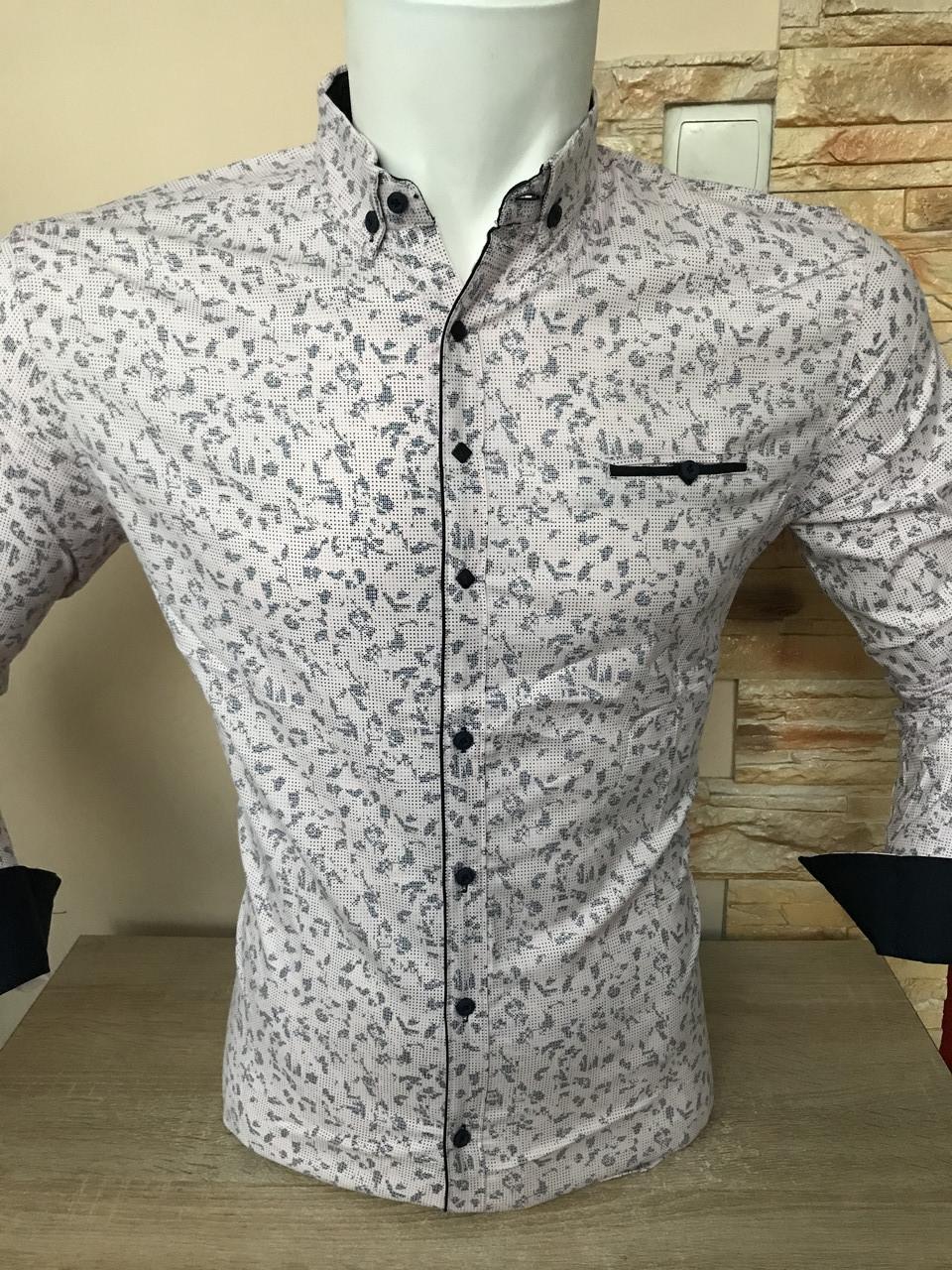 Рубашка длинный рукав G-Port*740 с принтом, белая