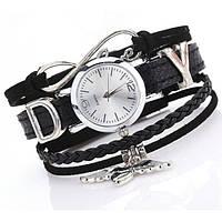 Женские часы-браслет Angel серебристые, красивые наручные часы с кожаным ремешком кварцевые