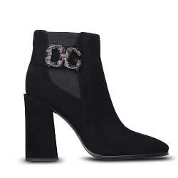 Стильные демисезонные женские замшевые ботинки на высоком каблуке S-shoes