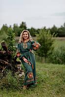 Льняное платье-вышиванка, зеленое, арт. 4505