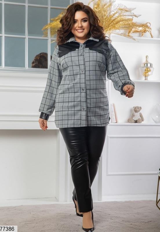 Стильний повсякденний костюм з сорочки в клітину і шкіряних штанів з 48 по 62 розмір