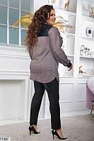 Стильний повсякденний костюм з сорочки в клітину і шкіряних штанів з 48 по 62 розмір, фото 4