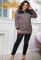 Стильний повсякденний костюм з сорочки в клітину і шкіряних штанів з 48 по 62 розмір, фото 2
