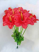 Искусственные цветы Нарцис с травкой 20 шт Красные