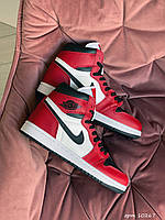 Модные кроссовки Nike Air Jordan,белые с красным/черным