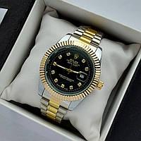 Мужские наручные часы Rolex datejust (ролекс) серебро-золото с черным, камни на метках, дата - код 1884
