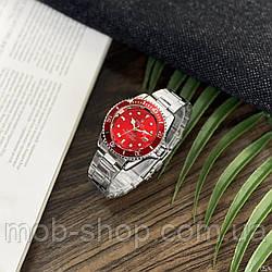 Наручний годинник Rolex Submariner 2128 Quarts Silver-Red