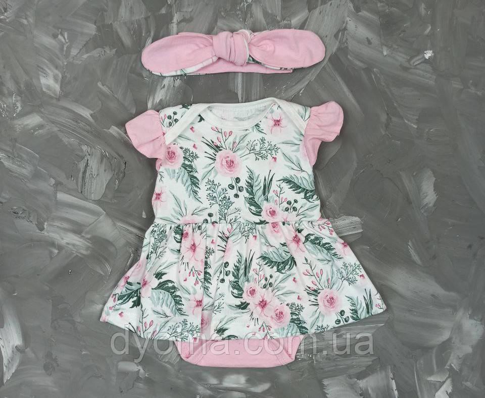 """Детский боди-платье с повязкой """"Цветы"""""""