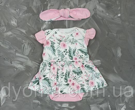 """Детский боди-платье с повязкой """"Цветы"""", фото 2"""