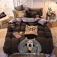 Теплый  плюшевый постельный комплект евро Олень, микрофибра плюш, теплый комплект постельного белья