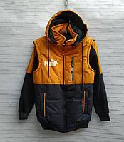 Куртка подростковая демисезонная со съемными рукавами для мальчика Puma 10-14 лет, темно-синяя с желтым, фото 1