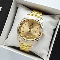 Мужские наручные часы Rolex datejust (ролекс) золотого цвета с камнями на метках, дата - код 1888