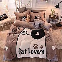 Теплый  плюшевый постельный комплект евро Котик, микрофибра плюш, теплый комплект постельного белья