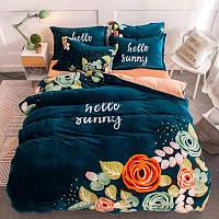 Теплый  плюшевый постельный комплект евро Цветы, микрофибра плюш, теплый комплект постельного белья