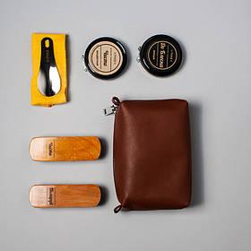 """Набір для чищення взуття шкіряне """"Elite"""": м'яка та жорстка щітки, серветка + 2 крему (чорний і безбарвний)"""