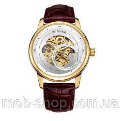 Наручний годинник Winner 339 Gold-White-Brown