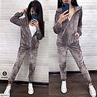 Бархатный спортивный костюм женский модный кофта на молнии с капюшоном и штаны арт.8431/ 8449