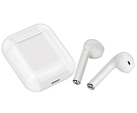 Беспроводные Bluetooth наушники c кейсом i8 mini TWS белого цвета со встроенным микрофоном стерео звук до 4ч.