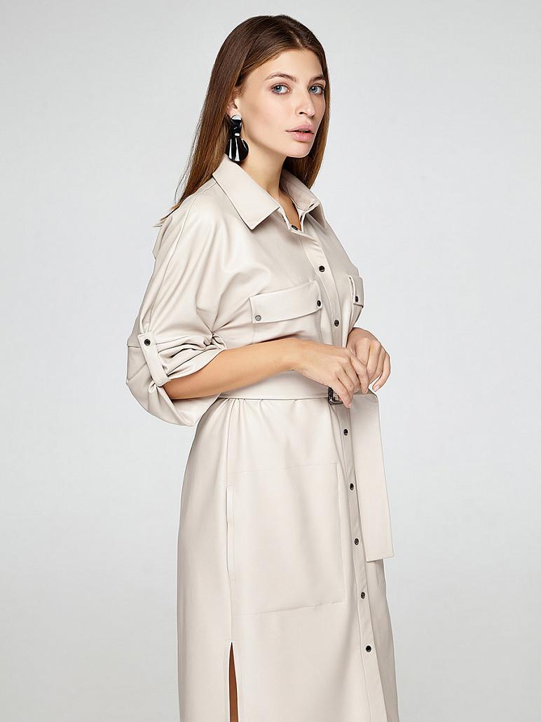 Сукня-сорочка жіноча з еко-шкіри бежеве SOLH MKSH2376