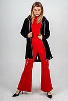 Весенний красно-черный комплект: брюки-клеш красные, кардиган с капюшоном черный, гольф красный