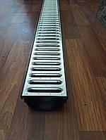 Водостічний пластиковий лоток DN100 H70 з оцинкованої ґратами, фото 1