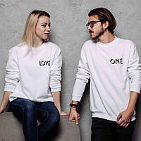"""Свитшоты парные с надписью """"One Love"""" белые. Свитшоты для пары, подарок паре"""