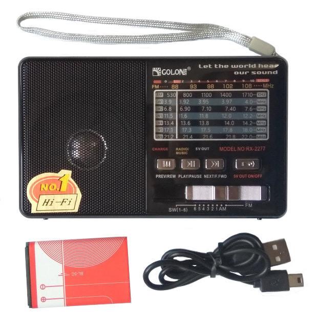 """Радіоприймач c USB/SD і акумулятором """"GOLON"""" RX-182"""