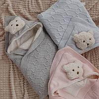 Плед одеяло с уголком для выписки из роддома 85х85 см