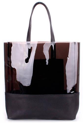 Красивая модная женская сумка из натуральной кожи PoolParty city-carrie-black черная