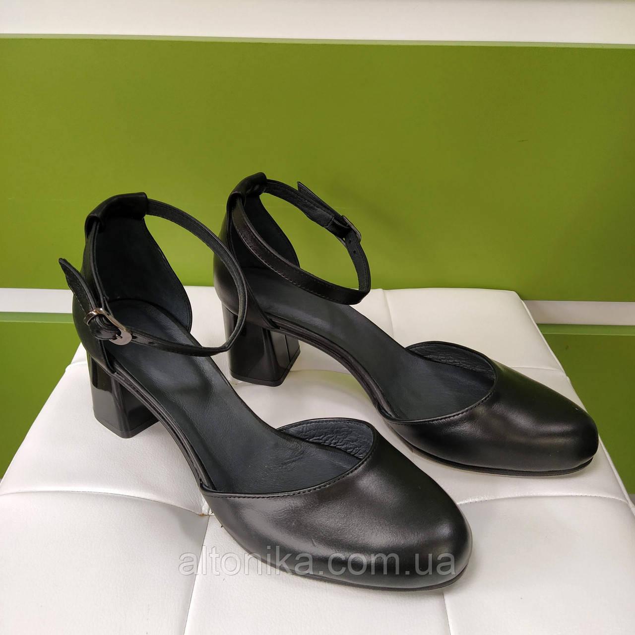 STTOPA Розміри 36-44. Туфлі шкіряні великих розмірів! Каблук 6,5 див. С7-27-3644-65 Чорні
