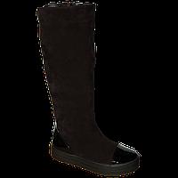 Модные зимние замшевые сапоги с лаковым носком и пяткой