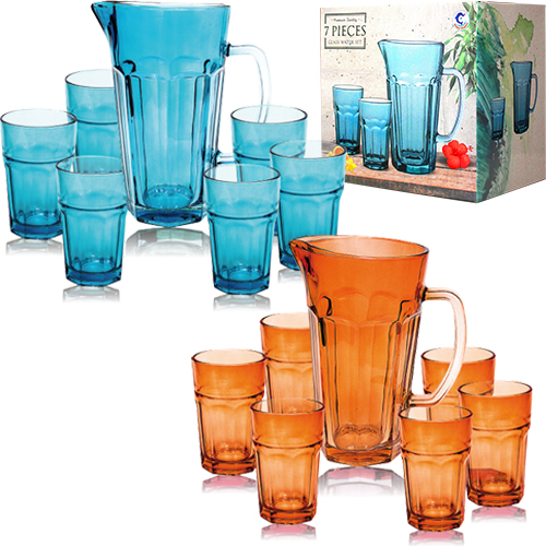 Набор 7 пр. (графин 1,2л+6 стаканов по 320мл) 2 цвета микс