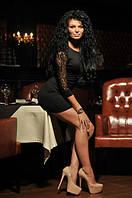 Красивое трикотажное женское платье с гипюровым рукавчиком