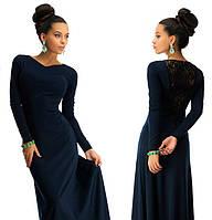 Красивое платье в пол с дорогим набивным гипюром темно-синий