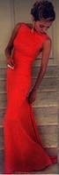 Шикарное платье в пол со шлейфом красное
