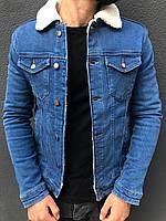 Мужская джинсовка на овчине синяя 5553-8
