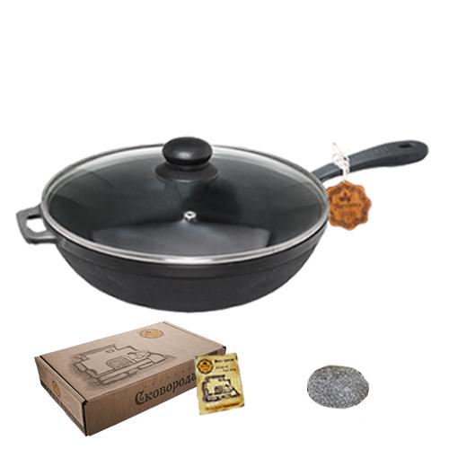 Сковорода чугунная литая 26*6 см круглая с крышкой