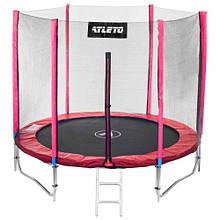 Батут Atleto 312 см для детей с защитной сеткой и двойными ногами красный, садовий для дома
