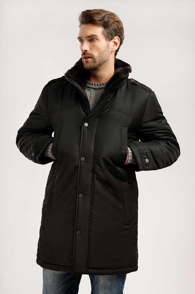 Мужская куртка Finn Flare W19-21008-200 с меховым воротником черная