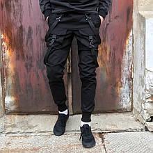 Брюки карго мужские Scarstrope черные, чёрные стропы